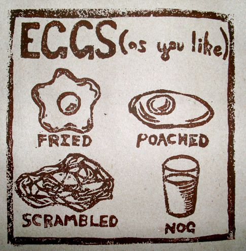 Eggs lino cut